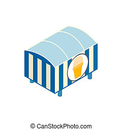 Tent with ice cream isometric 3d icon on a white background
