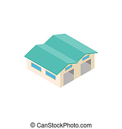 Airplane hangar isometric 3d icon isolated on a white...