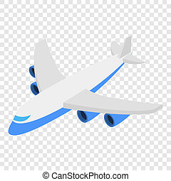 Plane isometric 3d icon on transparent background