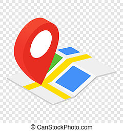 Location isometric 3d icon on transparent background