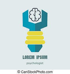 Flat logo psychologist. Medical and health care. Easy to use...