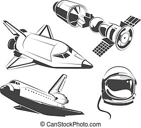 Vector elements for vintage space, astronaut labels and emblems