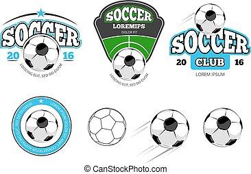 European football, soccer vector labels, emblems, logos and...