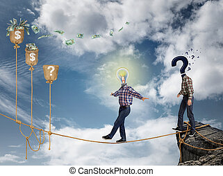 Young businessman walking on the rope to financial success,...