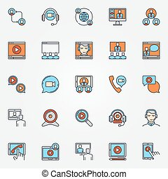 Business communication icons - vector colorful video...