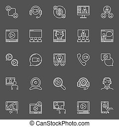Online video conference icons - vector set of linear...