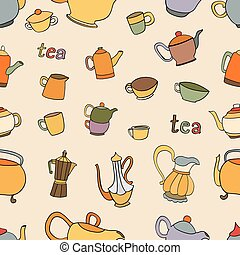 Seamless pattern of tea and coffee objects
