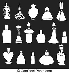 isolated perfume bottles - Set of simple isolated on black...