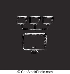 Computer network. Drawn in chalk icon. - Group of monitors...