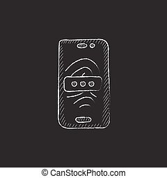Mobile phone scanning fingerprint Drawn in chalk icon -...