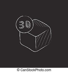 Three D box Drawn in chalk icon - Three D box Hand drawn in...
