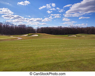 Golf game outdoors - Beautiful view of golf club where you...