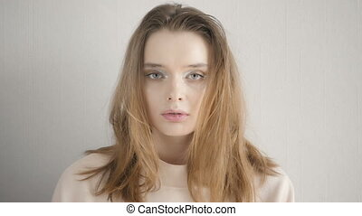 Cinemagraph Portrait of A Beautiful Young Woman In Studio,...