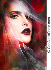 fantasy woman portrait - fantasy colorful woman portrait...