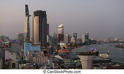 Top view of Ho Chi Minh City (Saigon) Vietnam.