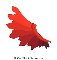 Red wing of devil icon, cartoon style