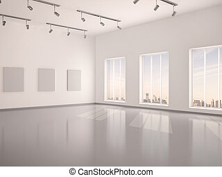3d illustration of spacious interior empty gallery