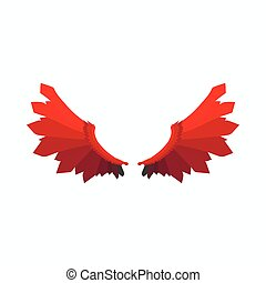 Red wings of devil icon, cartoon style