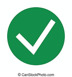 Green tick, check mark icon, simple style