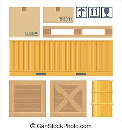 Brown carton packaging box, pallet, container, wooden crates, metal barrel