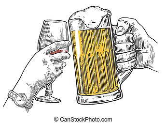 Two hands clink a glass of beer and wine. - Two hands clink...