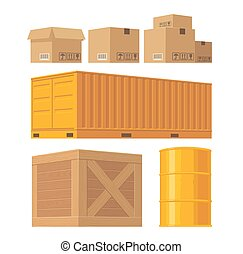 Brown carton packaging box, pallet, yellow container, wooden crates, metal barrel isolated on white background with fragile attention signs. Vector set illustration for icon, banner, infographic.