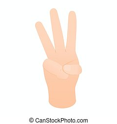 Hand showing number three icon, isometric 3d style