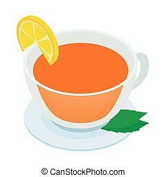 Cup of tea with mint and lemon icon