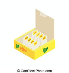 Teabags in paper box icon, isometric 3d style