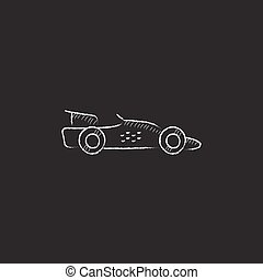 Race car Drawn in chalk icon - Race car Hand drawn in chalk...