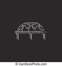 Rail way bridge Drawn in chalk icon - Rail way bridge Hand...