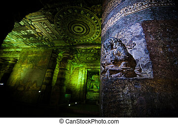 Ancient cave temple in Ellora, India