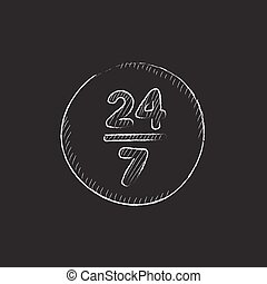 Open 24 hours and 7 days in wheek sign Drawn in chalk icon -...