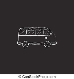 Minibus Drawn in chalk icon - Minibus Hand drawn in chalk...