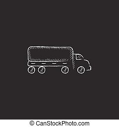 Delivery truck Drawn in chalk icon - Delivery truck Hand...