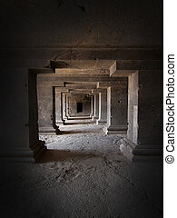 Ancient cave temple - Interior of an ancient cave temple in...