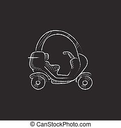 Rickshaw. Drawn in chalk icon. - Rickshaw. Hand drawn in...