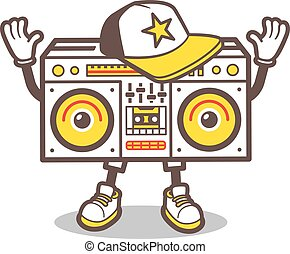 Cartoon boom box character vector design for tee - Cartoon...