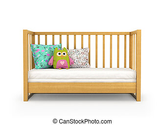 Crib, isolated on white. 3d, illustration