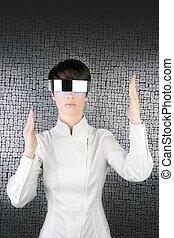 futuristic modern businesswoman steel glasses - futuristic...