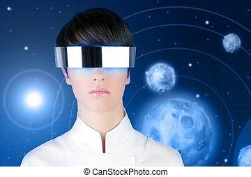 silver futuristic glasses woman space planets - silver...