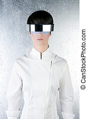 silver modern futuristic steel glasses woman