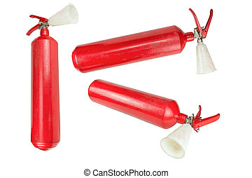 Many fire extinguisher isolated on white background