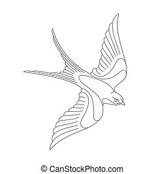 Flying swallow or swift tattoo design. Elegant bird vector...