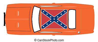 Confederate Flag On Orange Car - A Confederate flag on the...
