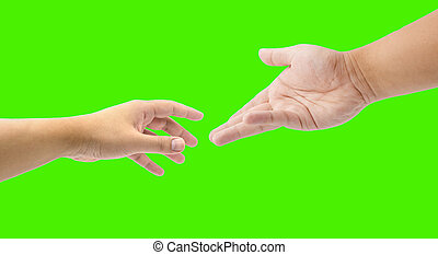 helping hand on green screen - close up helping hand on...