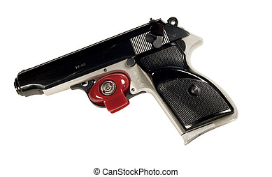 pistol and trigger lock - red trigger lock on a pistol with...
