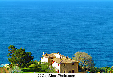 coastal landscape with manor - scenery with residential...