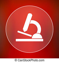 Microscope icon Internet button on red background