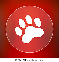 Paw print icon Internet button on red background
